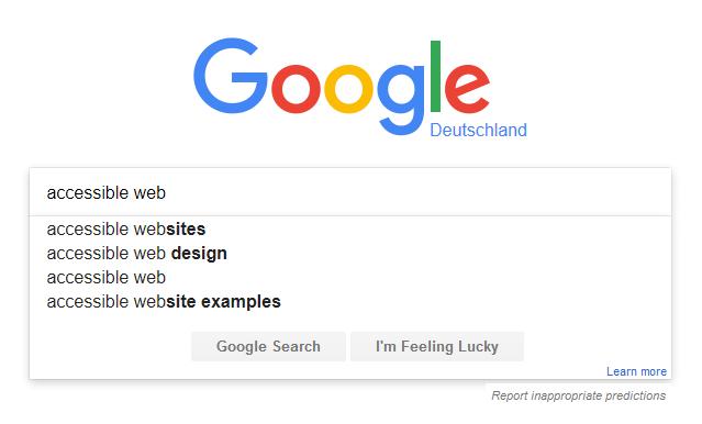 Example of Google's autocomplete