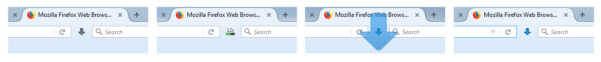Different UI states in Firefox ESR while downloading