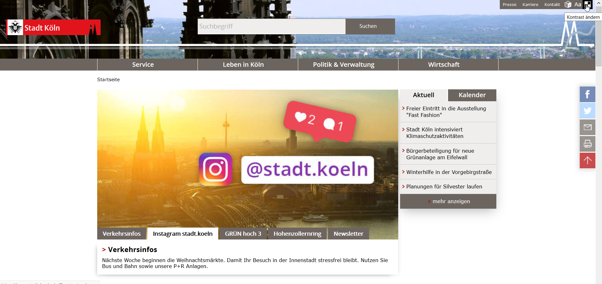 Screenshot of the website of the City of Cologne, custom contrast mode
