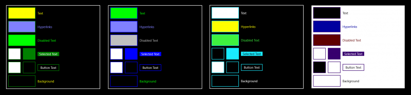 The 4 available Windows High Contrast Mode Themes