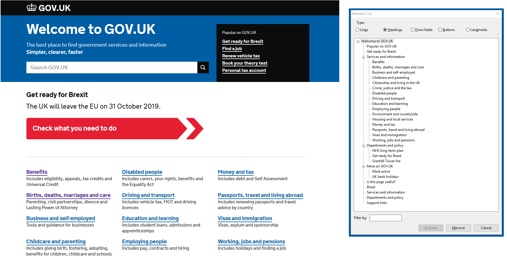 "The gov.uk homepage and its headings shown in NVDA screenreader in the ""Element List"""