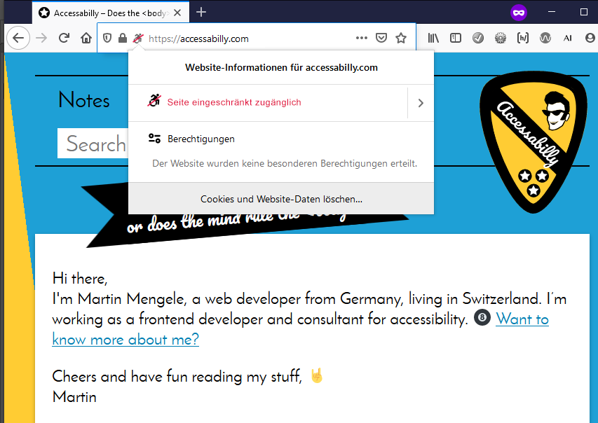 "Address bar in Firefox showing this site and a new indicator for accessibility (wheelchair icon, red strike through). The information is expanded and shows the text in red letters (in German): ""This page is not fully accessible""."